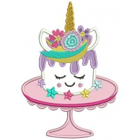Unicorn Cake On The Table Applique Machine Embroidery Design Digitized Pattern