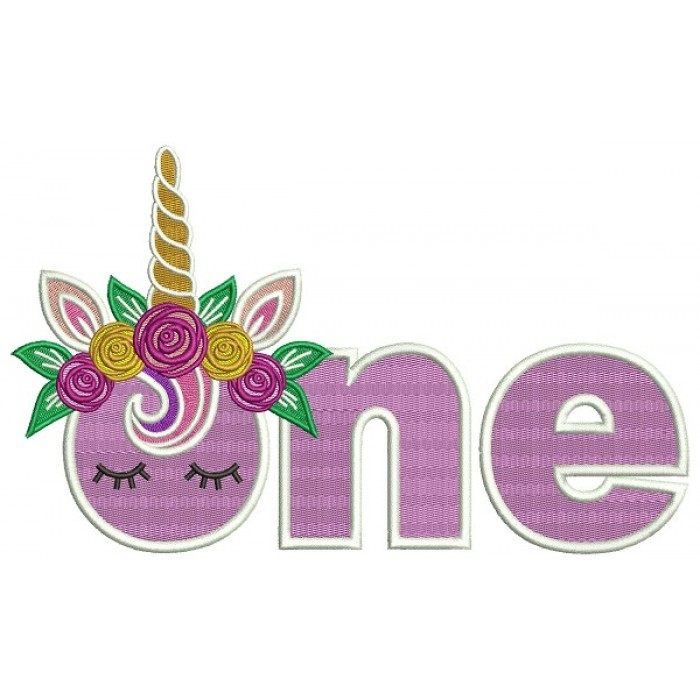Unicorn First Birthday Filled Machine Embroidery Design Digitized Pattern