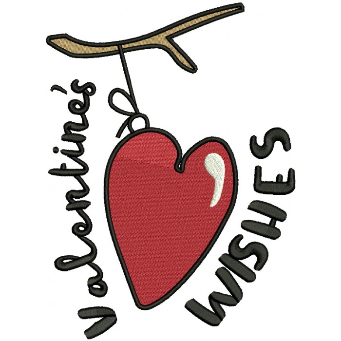 Valentine's Wishes Filled Machine Embroidery Design Digitized Pattern