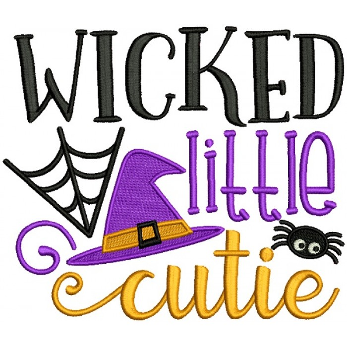 Wicked Little Cutie Witch Hat Halloween Filled Machine Embroidery Design Digitized Pattern775