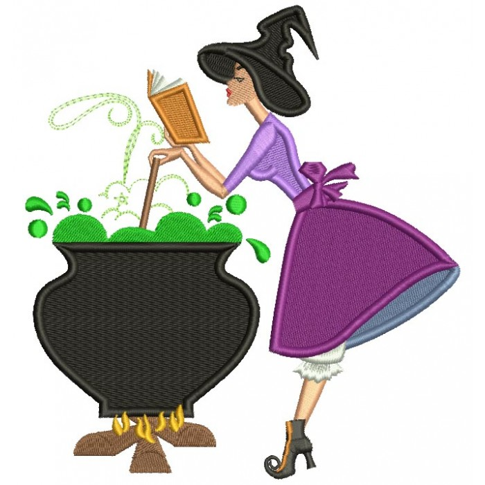 Witch Stirring The Pot and Reading a Book Halloween Filled Machine Embroidery Design Digitized Pattern