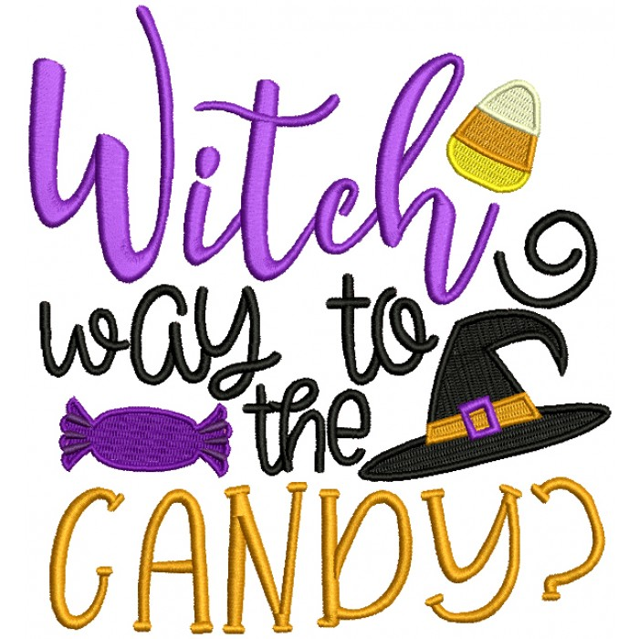 Witch Way Is The Candy Halloween Filled Machine Embroidery Design Digitized Pattern