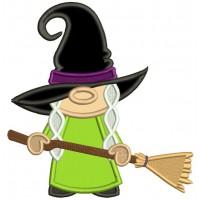 Witch Wearing Huge Hat Holding a Broom Halloween Applique Machine Embroidery Design Digitized Pattern