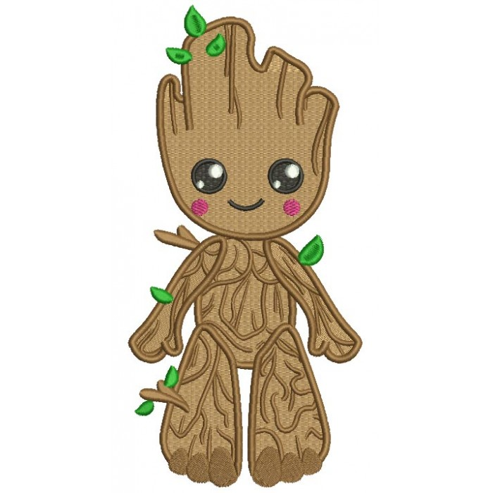 Wood Man Looks Like Groot From Gardian Of The Galaxy Filled Machine Embroidery Design Digitized Pattern