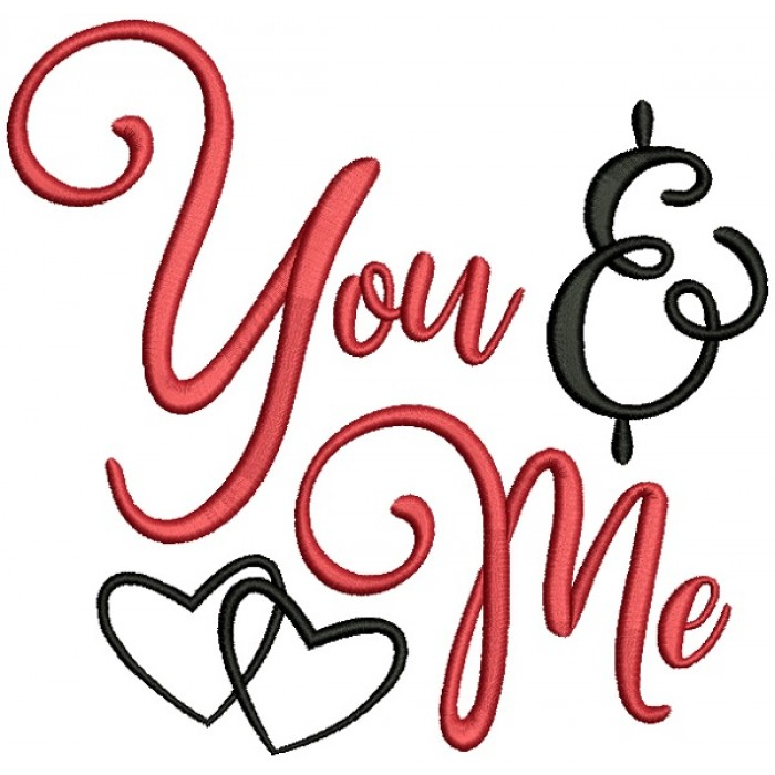 You And Me Hearts Love Filled Machine Embroidery Design Digitized Pattern