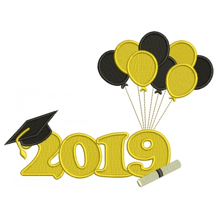 2019 Graduation Balloons Filled Machine Embroidery Design Digitized Pattern