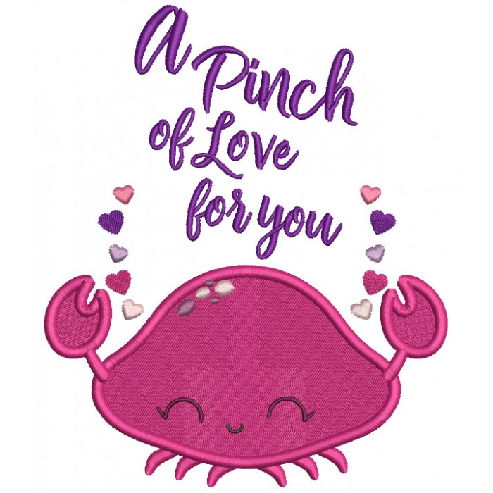 A Pinch Of Love For You Crab Valentine's Day Filled Machine Embroidery Design Digitized Pattern