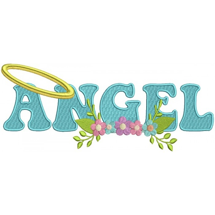Angel With Flowers Filled Machine Embroidery Design Digitized Pattern