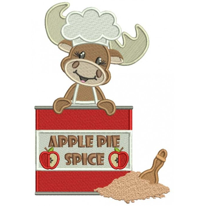 Apple Pie Spice Moose Cook Filled Machine Embroidery Design Digitized Pattern