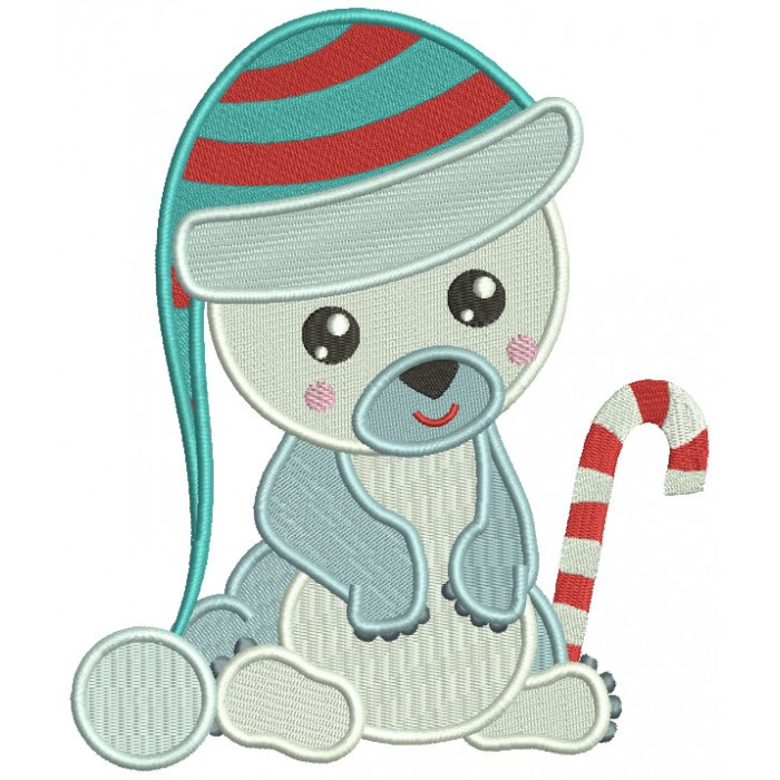 Baby Polar Bear Wearing Winter Hat Christmas Filled Machine Embroidery Design Digitized Pattern