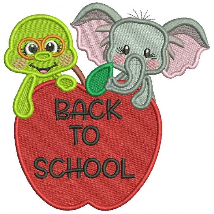 Back To School Elephant and Turtle Filled Machine Embroidery Design Digitized Pattern