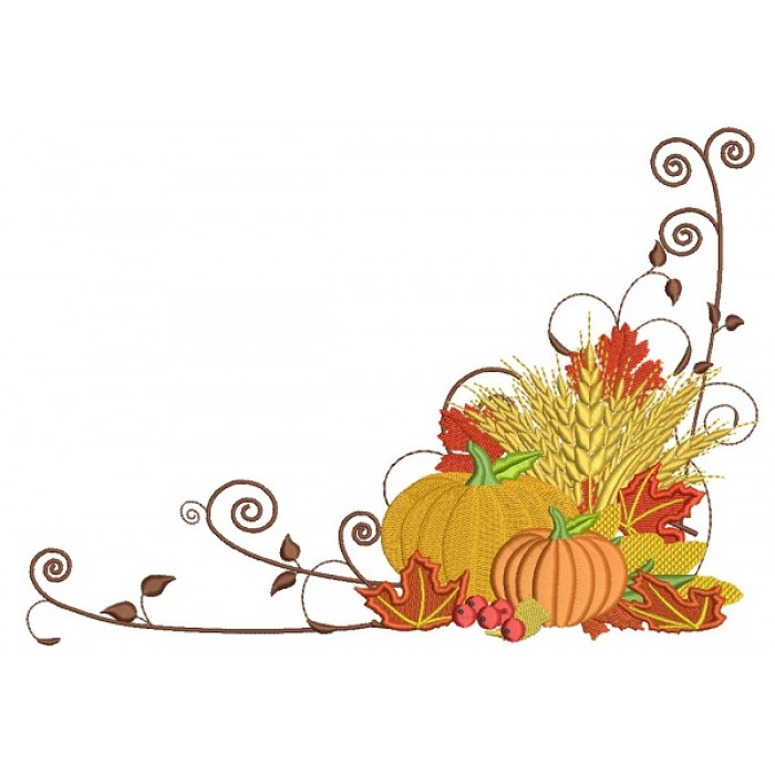 Beautiful Fall Pumpkin Arrangement Filled Machine Embroidery Design Digitized Pattern