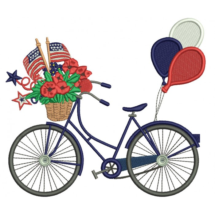 Bicycle With Flowers Balloons And American Flag Patriotic Filled Machine Embroidery Design Digitized Pattern