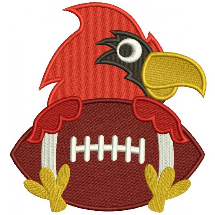 Bird Holding a Football Sports Filled Machine Embroidery Design Digitized Pattern