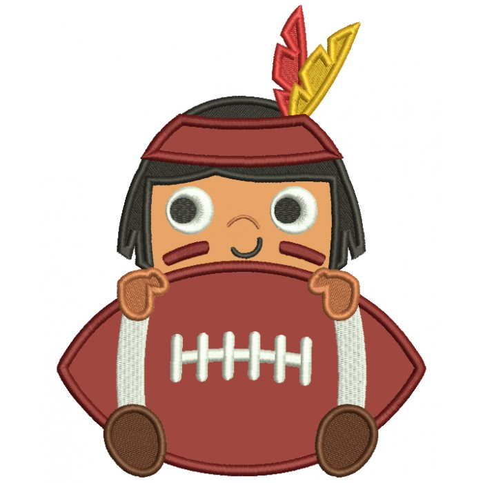 Boy Indian With a Football Sports Applique Machine Embroidery Design Digitized Pattern