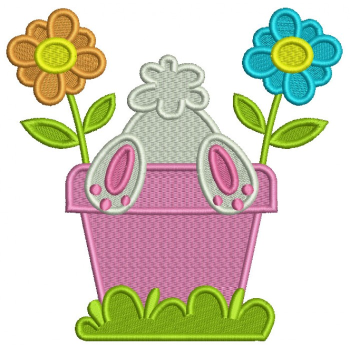 Bunny Upside Down In The Flower Pot Easter Filled Machine Embroidery Design Digitized Pattern