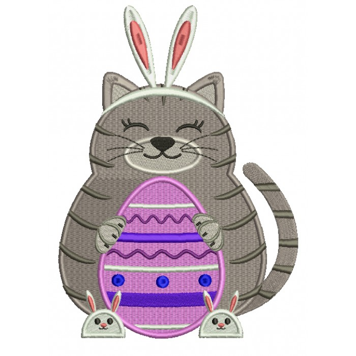 Cat With Bunny Ears Easter Filled Machine Embroidery Design Digitized
