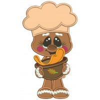 Cook Gingerbread Man Making Pumpkin Pie Fall Applique Thanksgiving Machine Embroidery Design Digitized Pattern