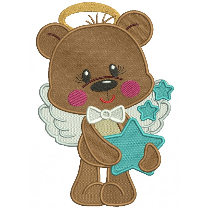Cute Bear Angel Holding a Star Filled Machine Embroidery Design Digitized Pattern