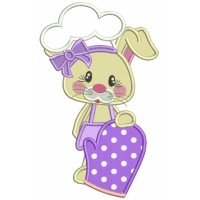 Cute Bunny Cook Holding a Cooking Mitt Applique Machine Embroidery Design Digitized Pattern