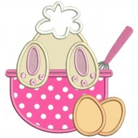 Cute Bunny Leaning Over The Cooking Bowl Applique Machine Embroidery Design Digitized Pattern