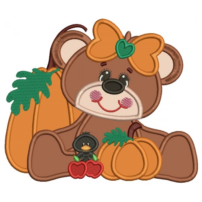 Cute Girl Bear WIth Pumpkin And a Little Crow Applique Machine Embroidery Design Digitized Pattern