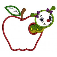 Cute Girl Little Caterpillar Inside Apple School Applique Machine Embroidery Design Digitized Pattern