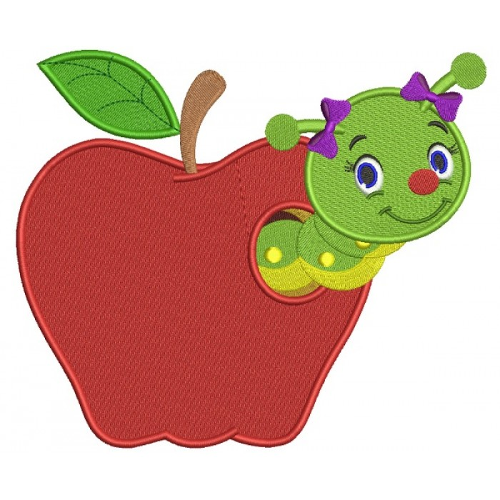 Cute Girl Little Caterpillar Inside Apple School Filled Machine Embroidery Design Digitized Pattern