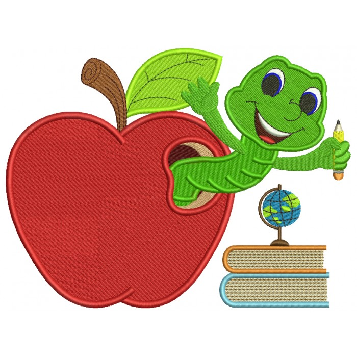 Cute Smiling Worm Inside With Books Inside Apple School Filled Machine Embroidery Design Digitized Pattern