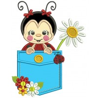 Cute Ladybug Inside The Pocket With a Daisy Flower Applique Machine Embroidery Design Digitized Pattern