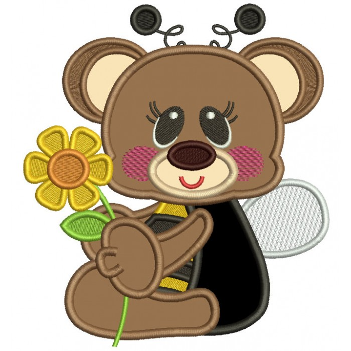 Cute Little Bear Wearing Bumblebee Costume Applique Machine Embroidery Design Digitized Pattern