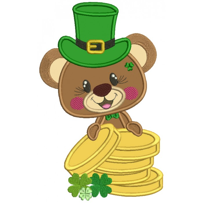Cute Little Bear Holding Gold Coins St. Patrick's Applique Machine Embroidery Design Digitized Pattern