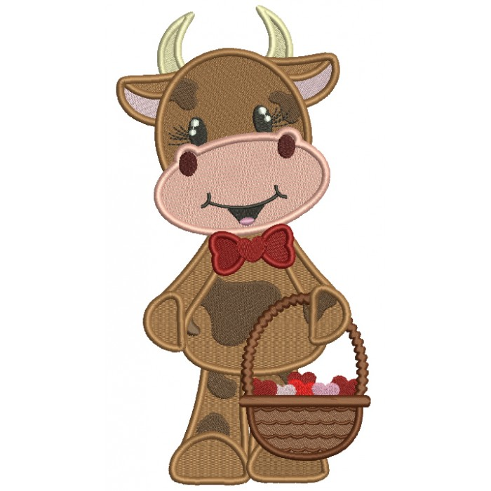 Cute Little Cow Holding Basket Full Of Hearts Filled Valentine's Day Machine Embroidery Design Digitized Pattern