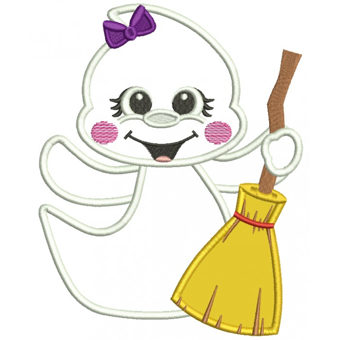 Cute Little Ghost Holding a Broom Halloween Applique Machine Embroidery Design Digitized Pattern