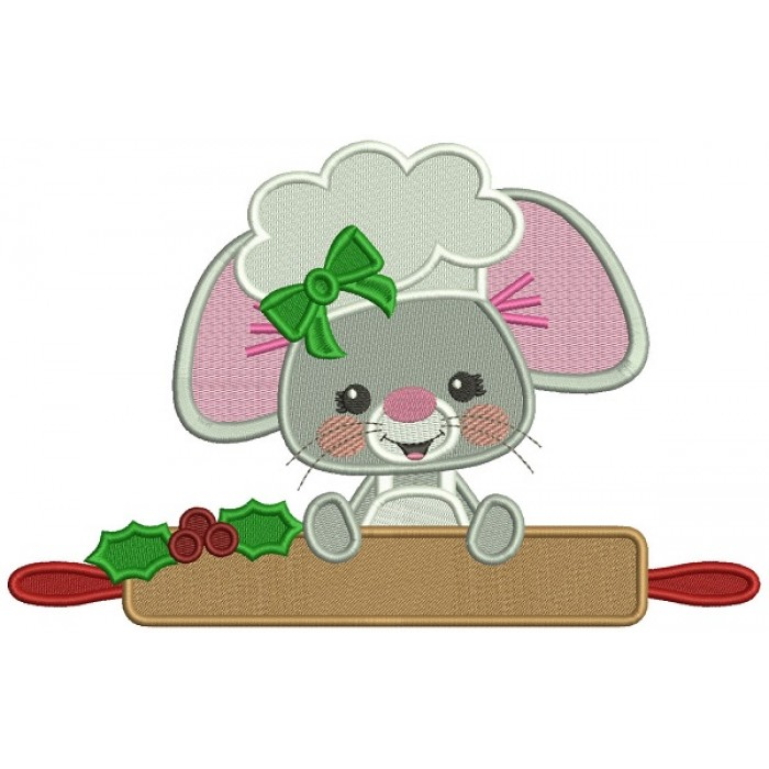 Cute Little Mouse Cook Filled Christmas Machine Embroidery Design Digitized Pattern