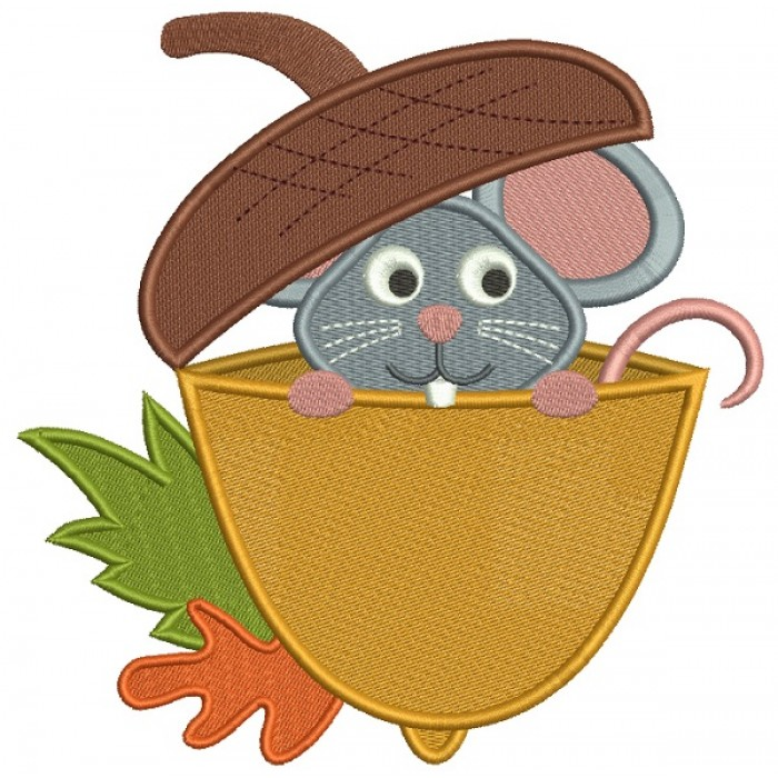 Cute Little Mouse Sitting Inside and Acorn Filled Machine Embroidery Design Digitized Pattern