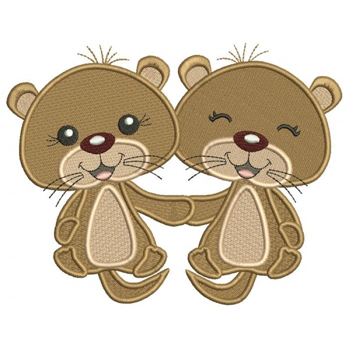 Cute Little Otters Holding Hands Filled Machine Embroidery Design Digitized Pattern