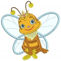 Cute Little Queen Bee Applique Machine Embroidery Design Digitized Pattern