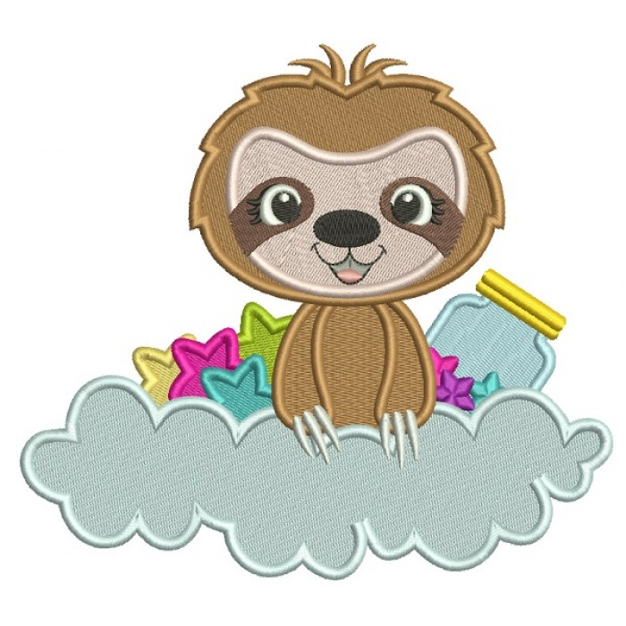 Cute Little Sloth sitting In The Cloud With Stars and a Jar Filled Machine Embroidery Design Digitized Pattern