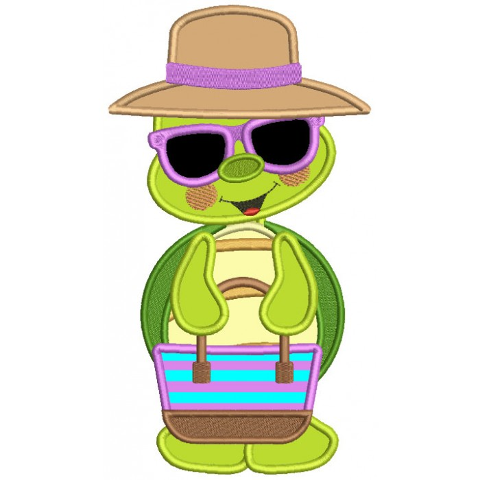 Cute Little Turtle Wearing Sunglasses Applique Machine Embroidery Design Digitized Pattern