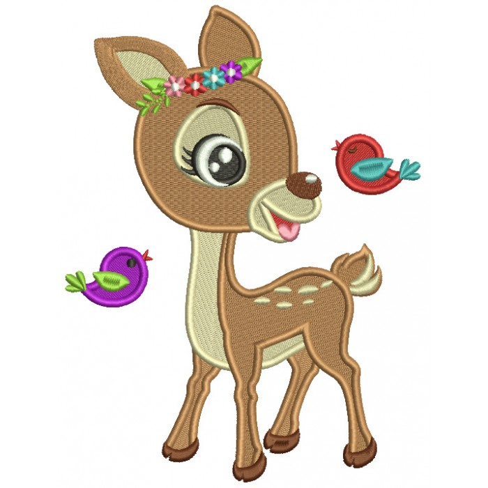 Cute Reindeer And Flying Birds Filled Machine Embroidery Digitized Design Pattern