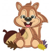 Cute Smiling Squirrel With Acorn And Leaves Fall Applique Thanksgiving Machine Embroidery Design Digitized Pattern