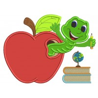 Cute Smiling Worm Inside With Books Inside Apple School Applique Machine Embroidery Design Digitized Pattern