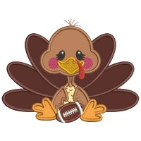 Cute Turkey With a Football Sports Fall Applique Thanksgiving Machine Embroidery Design Digitized Pattern