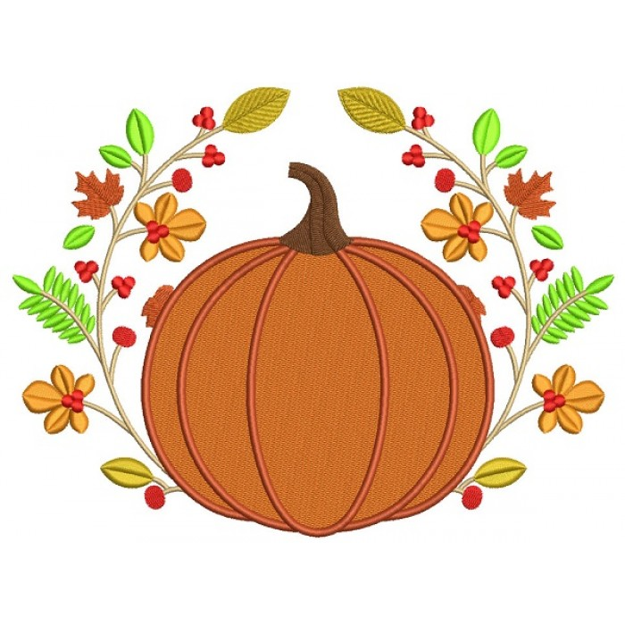 Decorative Pumpkin Fall Filled Machine Embroidery Design Digitized Pattern