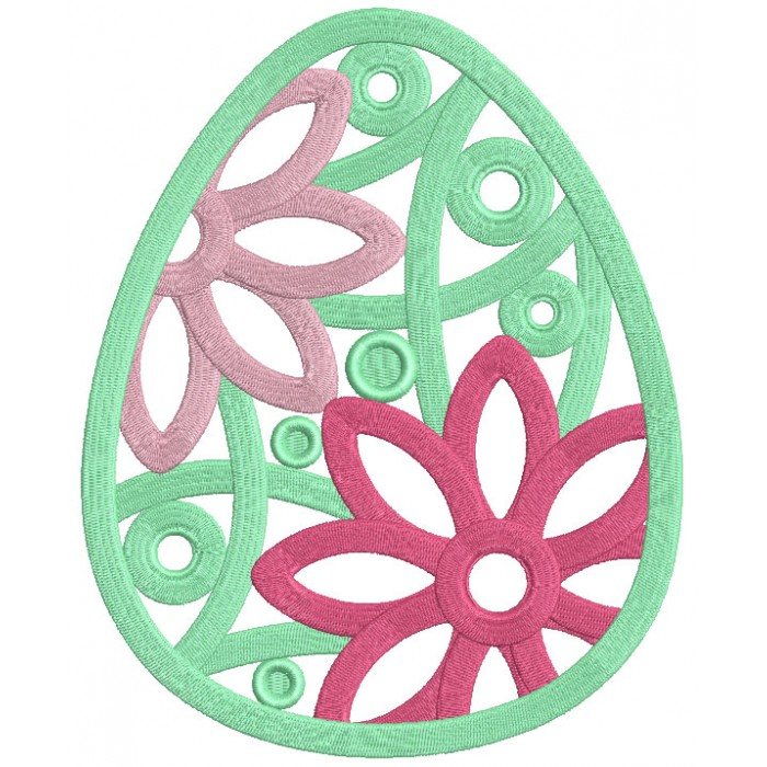 Easter Egg With Green Shell And Green Polka Dots Filled Machine Embroidery Design Digitized Pattern