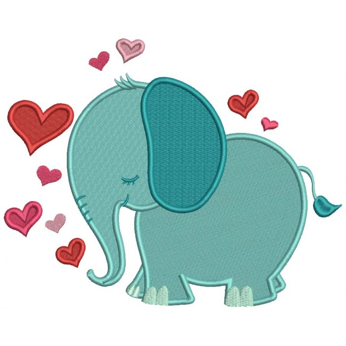 Elephant With Hearts Valentine's Day Filled Machine Embroidery Design Digitized Pattern