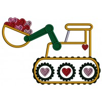 Excavator With Bucket Full Of Hearts Applique Machine Embroidery Design Digitized Pattern