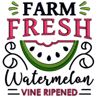 Farm Fresh Watermelon Vine Ripened Applique Machine Embroidery Design Digitized Pattern