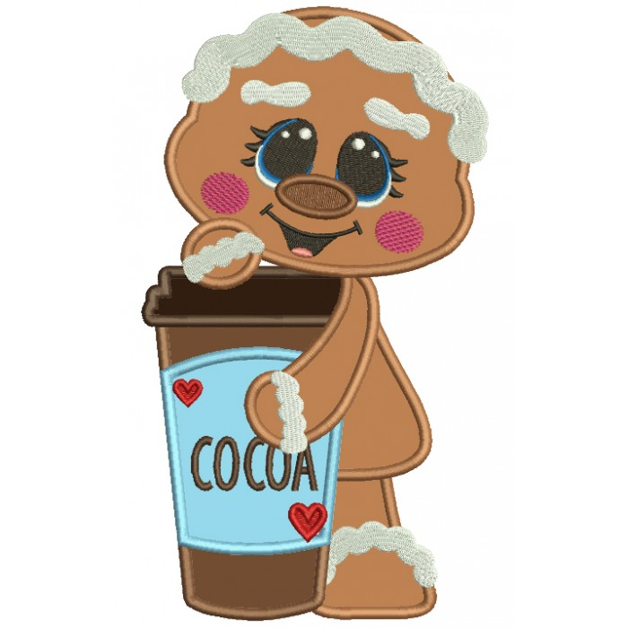 Gingerbread Girl Holding a Drink Applique Machine Embroidery Design Digitized Pattern